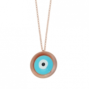 Necklace bronge pink gold plated with enamel size of the eye 2.5cm - Wish Luck