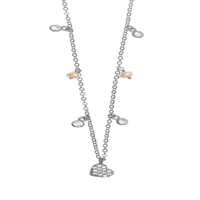 Necklace silver 925 rhodium plated & with white zirconia - Simply Me