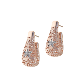 Earrings silver 925 pink gold plated with white zirconia - WANNA GLOW