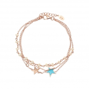 Bracelet silver 925 pink gold plated with enamel and white zirconia - Color Me