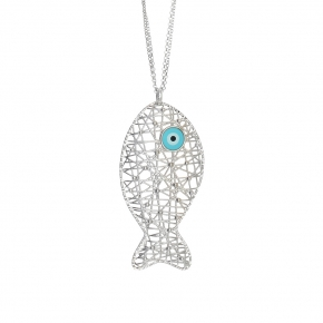 Necklace silver 925 rhodium plated with enamel (pendant size 6cm) - WANNA GLOW