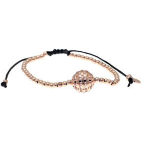 Bracelet silver 925 pink gold plated with cord - Funky Metal