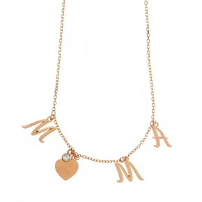 Necklace silver 925 rose gold plated & with white zirconia - Wish Luck