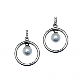 Earrings in silver 925 black rhodium plated with shell pearls - Simply Me
