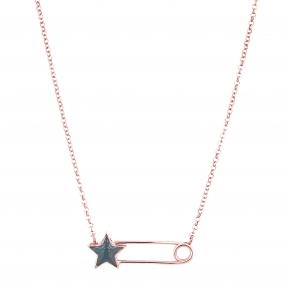 Necklace silver 925 pink gold plated with enamel - Wish Luck