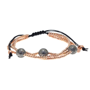 Bracelet silver 925 pink gold plated with black rhodium plated and cord - WANNA GLOW
