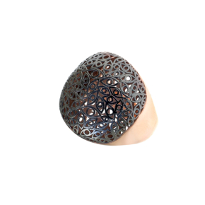 Ring silver 925 pink gold plated with black rhodium plating - Funky Metal