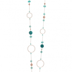 Necklace silver 925 rose gold plated with amazonite and rose lava beads - Color Me