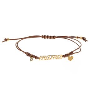 Bracelet silver 925 yellow gold plated with white zirconia and cord - Wish Luck