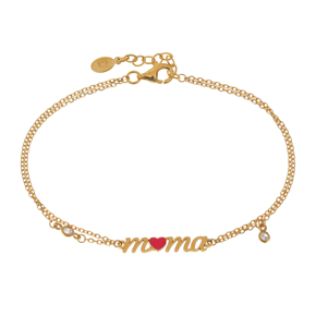 Bracelet silver 925 yellow gold plated with white zirconia and enamel - Wish Luck