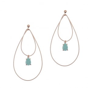 Earrings silver 925 pink gold plated & with amazonite - Color Me
