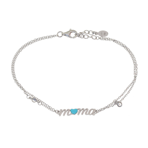 Bracelet silver 925 rhodium plated with white zirconia and enamel - Wish Luck