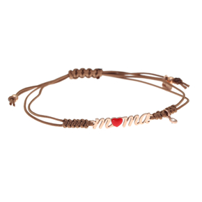 Bracelet silver 925 rose gold plated with white zirconia,cord and enamel - Wish Luck
