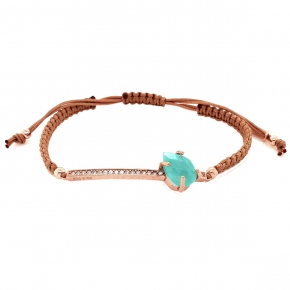 Cord Bracelet in silver 925 pink gold plated with amazonite,white zirconia and cord - Color Me