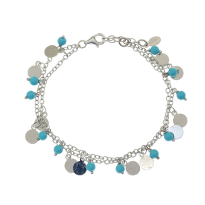Bracelet bronge rhodium plated with synthetic stones - Simply Me