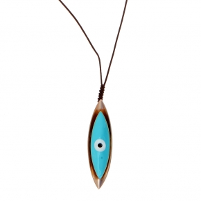 Necklace bronge rose gold plated with enamel and cord size of the eye 6cm - Wish Luck
