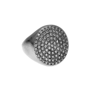 Ring silver 925 black rhodium plated & with white zirconia - WANNA GLOW