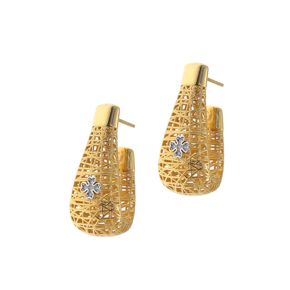 Earrings silver 925 yellow gold plated with white zirconia - WANNA GLOW