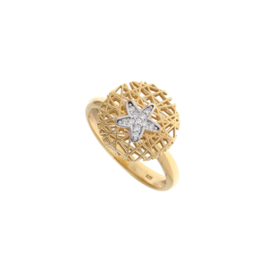Ring silver 925 yellow gold plated with white zirconia - WANNA GLOW