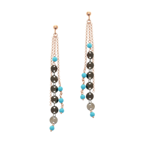 Earrings bronge rose gold and black rhodium plated with synthetic stones - Simply Me
