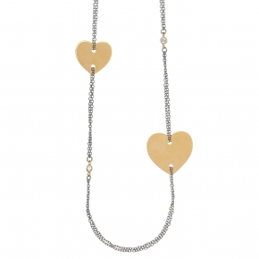 Necklace silver 925 yellow gold plated with black rhodium plated and zirconia - Funky Metal