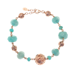 Bracelet silver 925 rose gold plated with amazonite and rose lava beads - Color Me