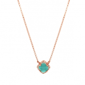 Necklace silver 925 pink gold plated & with amazonite and white zirconia - Color Me
