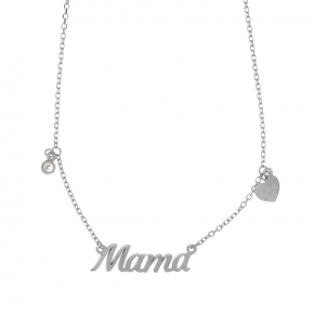 Necklace silver 925 rhodium plated with white zirconia - Wish Luck