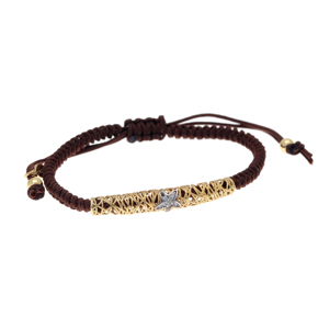 Bracelet silver 925 yellow gold plated with white zirconia and cord - WANNA GLOW