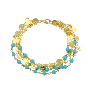 Bracelet bronge yellow gold plated with synthetic stones - Simply Me