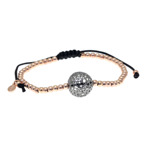 Bracelet silver 925 pink gold plated with black rhodium plating and cord - Funky Metal