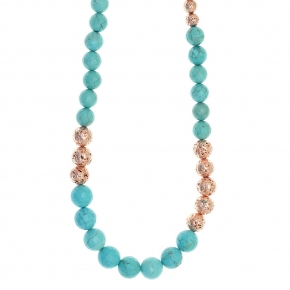 Necklace silver 925 pink gold plated with turquoise and rose lava beads - Color Me