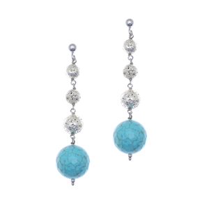Earrings silver 925 rhodium plated with turqoise and white lava beads - Color Me