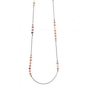 Necklace bronge rose gold and black rhodium plated with synthetic stones - Simply Me