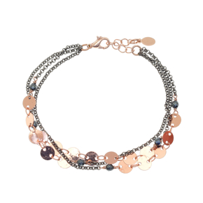 Bracelet metal rose gold and black rhodium plating with synthetic stones - Funky Metal