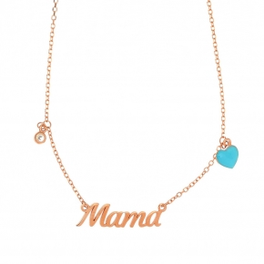 Necklace silver 925 rose gold plated with white zirconia and enamel - Wish Luck