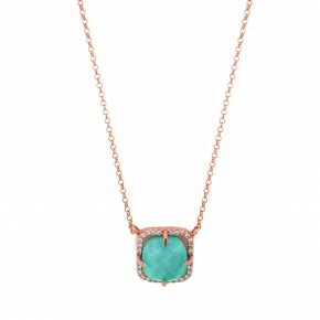 Necklace silver 925 pink. gold plated & with amazonite and white zirconia - Color Me