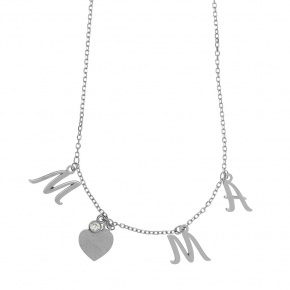 Necklace silver 925 rhodium plated & with white zirconia - Wish Luck