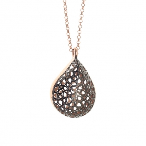 Necklace silver 925 rose gold plated with black rhodium plating - Funky Metal
