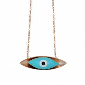 Necklace bronge pink gold plated with enamel size of the eye 4,5cm - Wish Luck