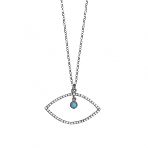 Necklace silver 925 black rodium plated with tq zirconia - Color Me