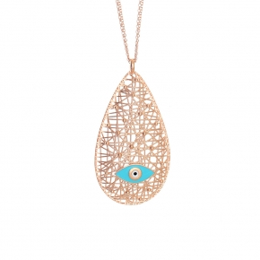 Necklace silver 925 rose gold plated with enamel (pendant size 5,5cm) - WANNA GLOW