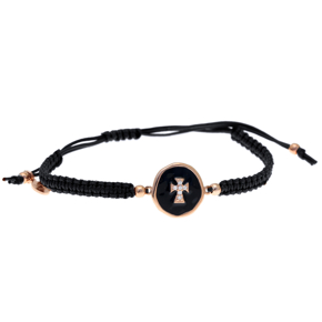 Bracelet silver 925 pink gold plated with enamel, white zirconia and cord - Color Me