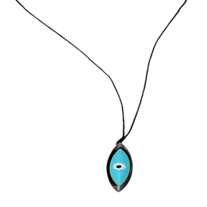 Necklace bronge black rhodium plated with enamel and cord size of the eye 6cm - Wish Luck
