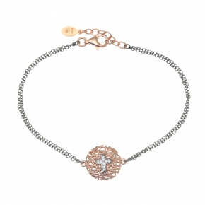 Bracelet silver 925 black rhodium plated with rose gold plated and white zirconia - WANNA GLOW