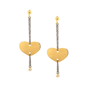 Earrings silver 925 yellow gold plated with black rhodium plated and zirconia - Funky Metal