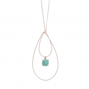 Necklace silver 925 pink gold plated with amazonite - Color Me
