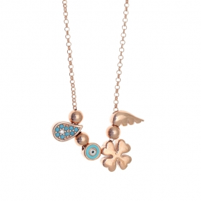 Necklace silver 925 pink gold plated with enamel evil eye and zirconia - Simply Me