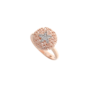 Ring silver 925 rose gold plated with white zirconia - WANNA GLOW