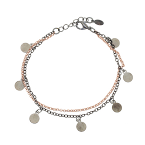 Bracelet metal rose gold and black rhodium plating - Funky Metal